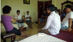Sarah training the storytellers before recording in Preah Vihear province
